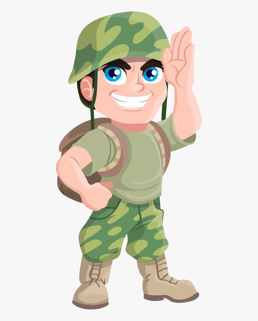 Free Cartoon Soldier Clip Art - Cartoon Soldier Without Gun, Transparent Clipart
