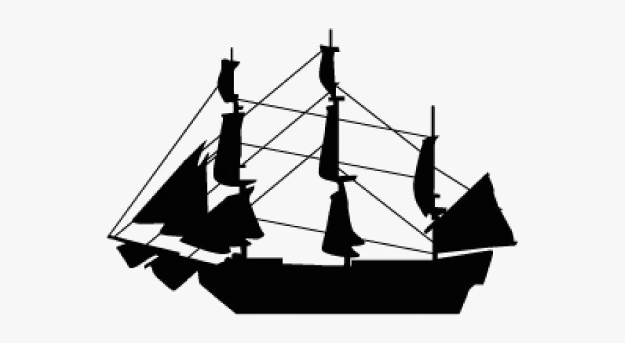Mayflower Ship Silhouette, Transparent Clipart
