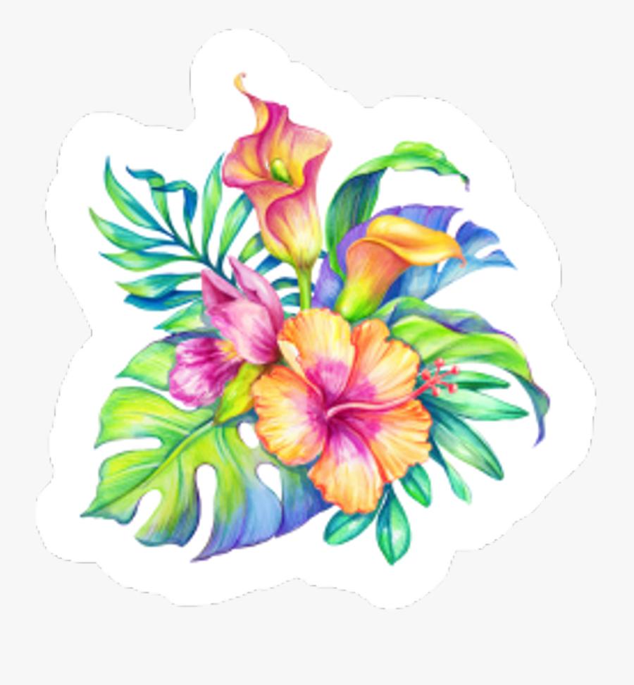 #flowers #hawaiian #tropical #colorful #nature #sticker - Colorful Tropical Flowers, Transparent Clipart