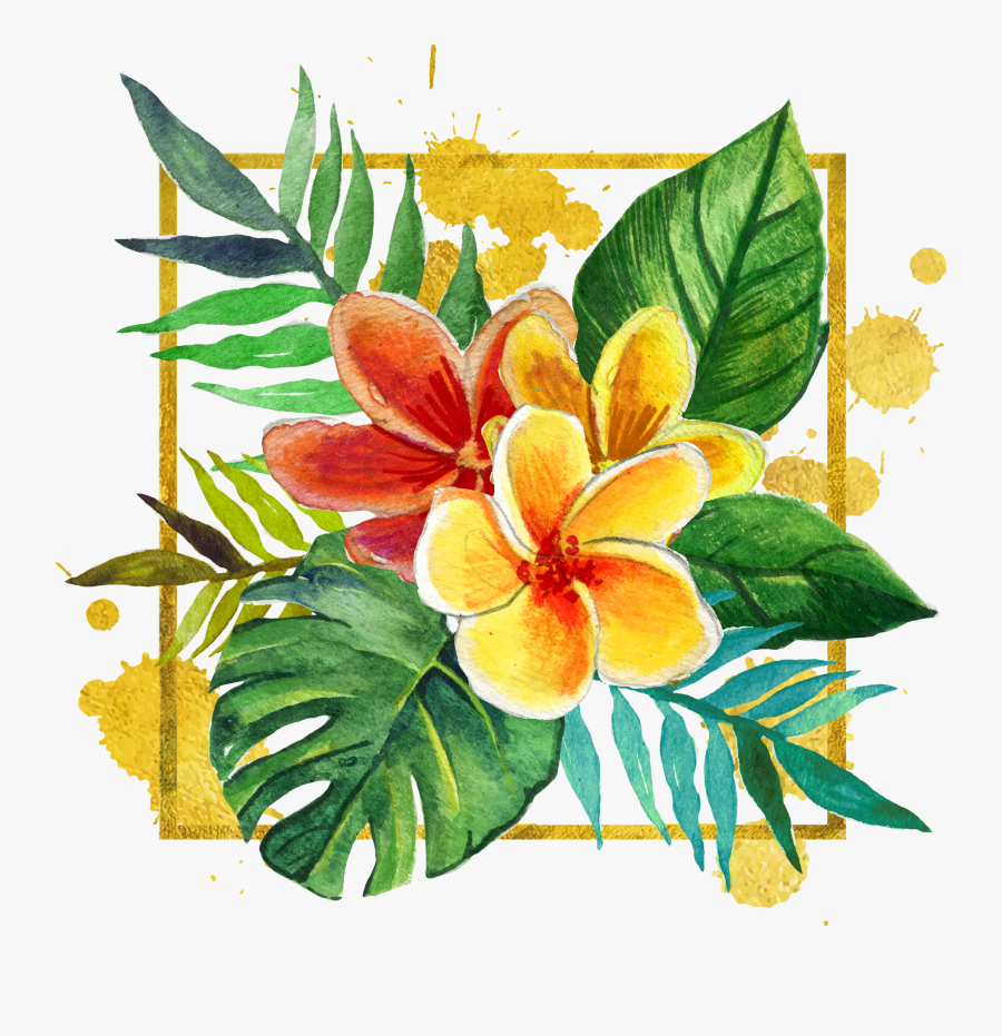 Clipart Black And White Library Adobe Illustrator Hand - Free Tropical Flowers Yellow Clipart, Transparent Clipart