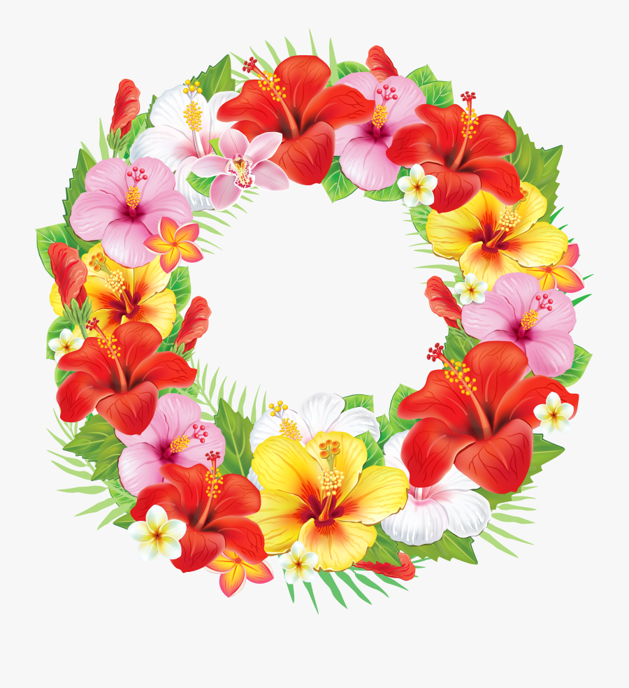 Wreath Of Exotic Flowers Png Clipart Picture - Wreath With Flowers Png, Transparent Clipart