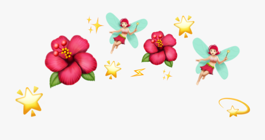 #fairy #star #shine #flower #crown #tumblr #cute #red - Emoji Flower Crown Png, Transparent Clipart