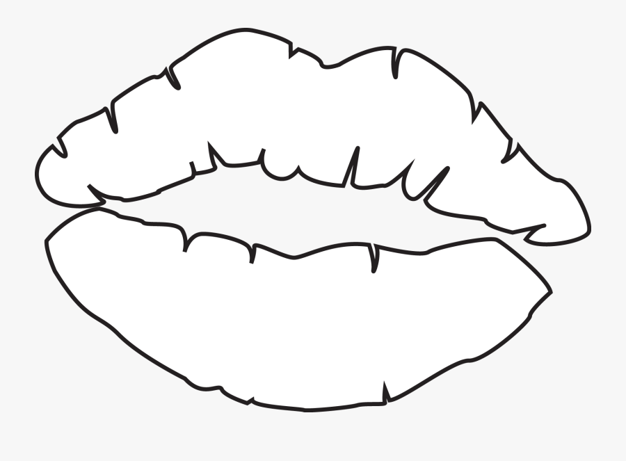 Clip Art Line Drawing Google Search - Kiss Lips Outline Drawing, Transparent Clipart