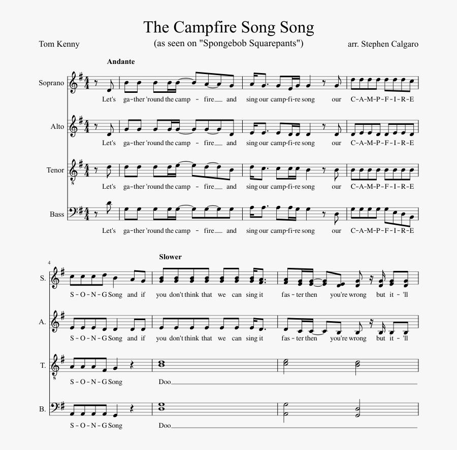 Clip Art The Spongebob Squarepants Satb - Spongebob Campfire Song Flute Sheet Music, Transparent Clipart