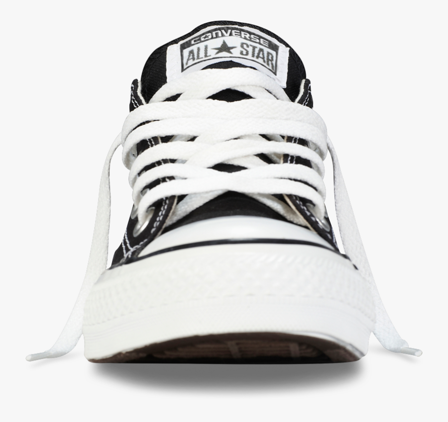 Clip Art Black Low Top Shoe - All Star Converse Front, Transparent Clipart