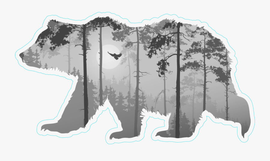 Forest With A Flying Owl In Bear Silhouette Sticker - Bear Silhouette With Forest, Transparent Clipart