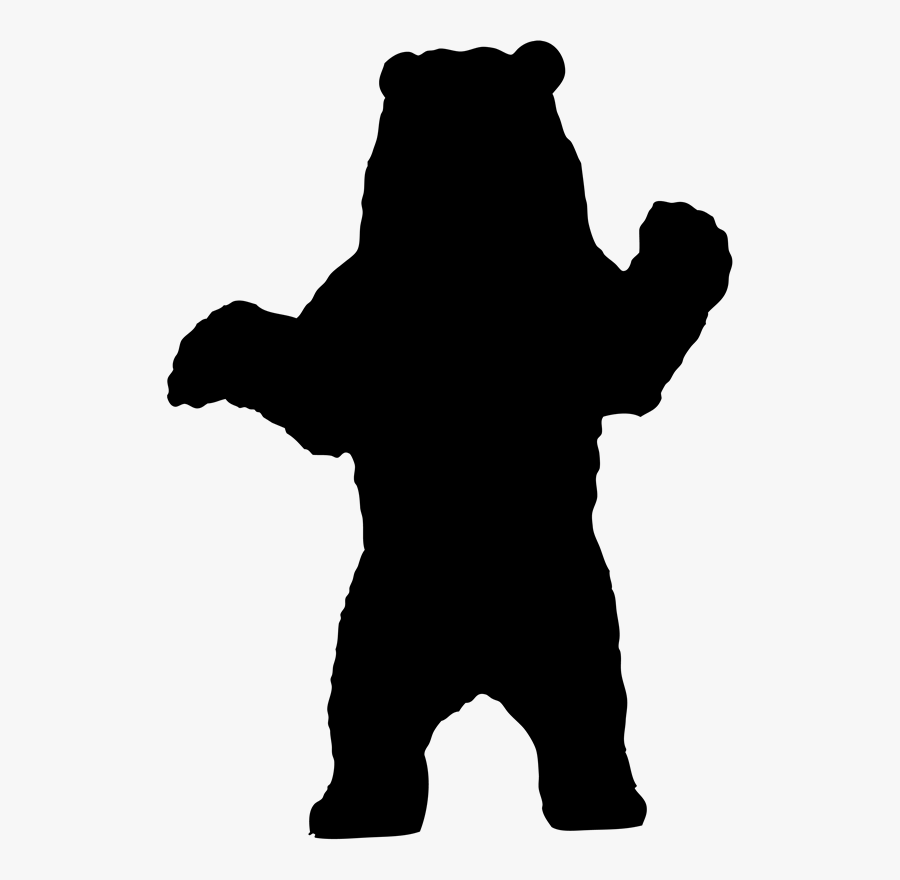 Polar Bear American Black Bear Grizzly Bear Silhouette - Standing Brown Bear Silhouette, Transparent Clipart