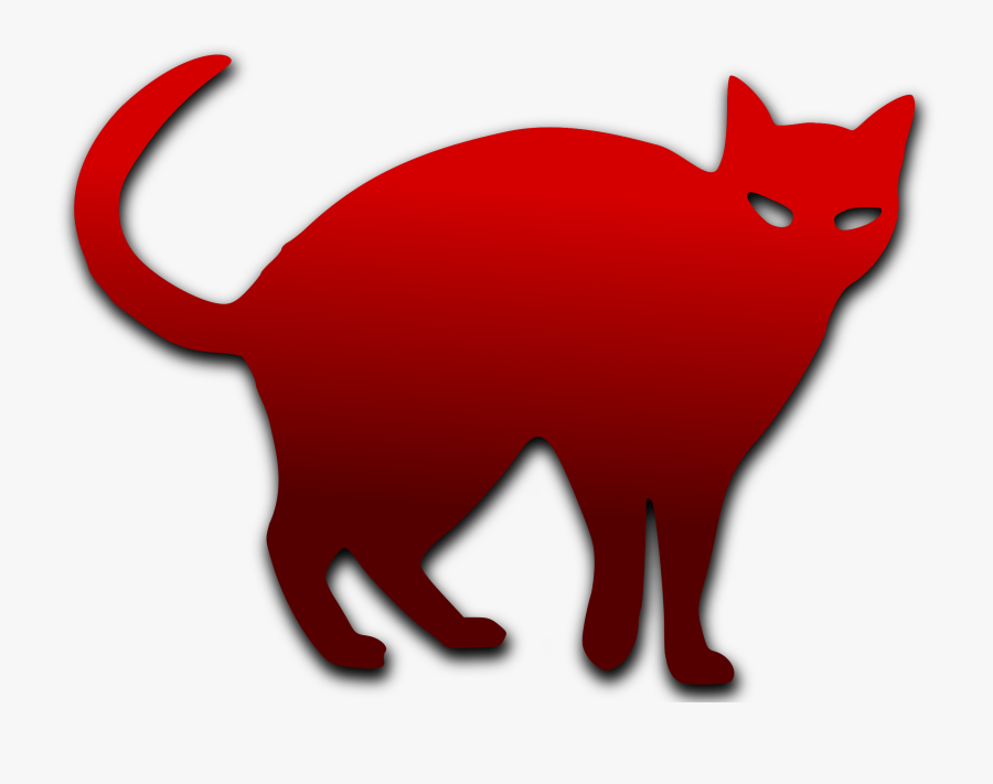 Red Cat Silhouette, Transparent Clipart