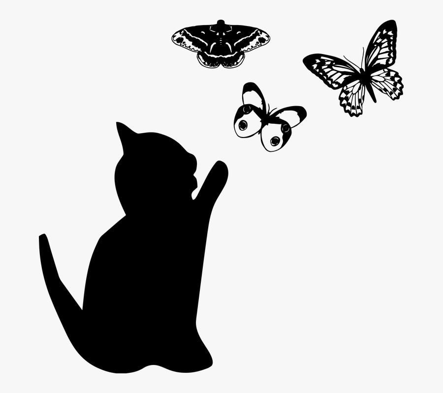 Cat And Butterflies, Cat Silhouette - Cat Silhouette Transparent, Transparent Clipart