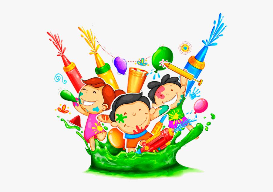 Pyar Ke Rang Se Bharo Pichkari, Sneh Ke Rang Do Duniya - Clipart Of Holi Celebration, Transparent Clipart