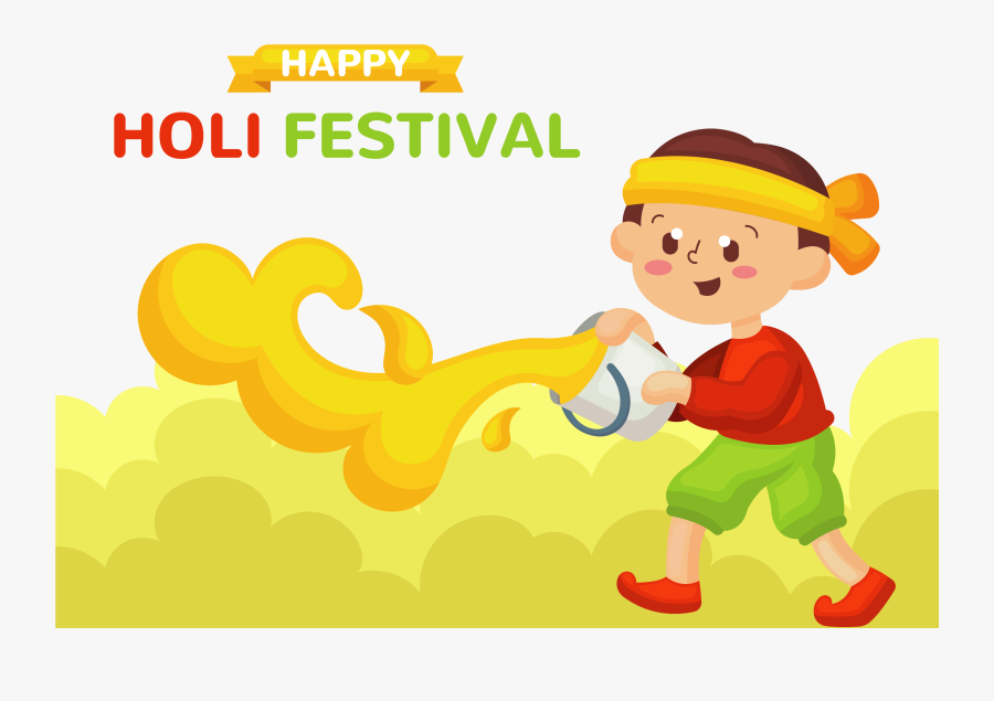 Transparent Happy Kids Png - Boy Playing Holi Clipart, Transparent Clipart