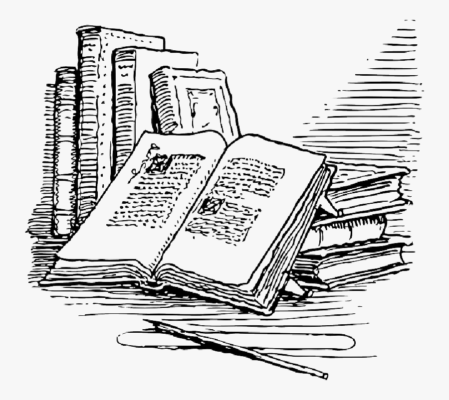 Open Reading Free Vector - Books Black And White Png, Transparent Clipart