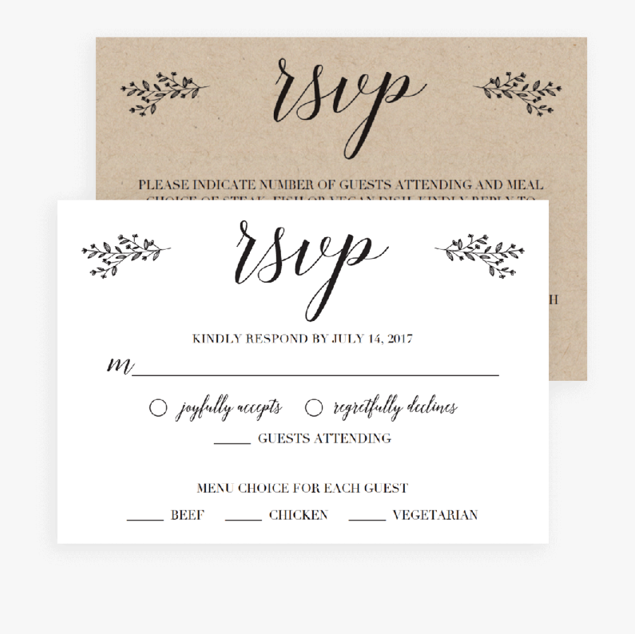 Transparent Shadi Card Clipart - Rsvp Wedding Cards Free, Transparent Clipart