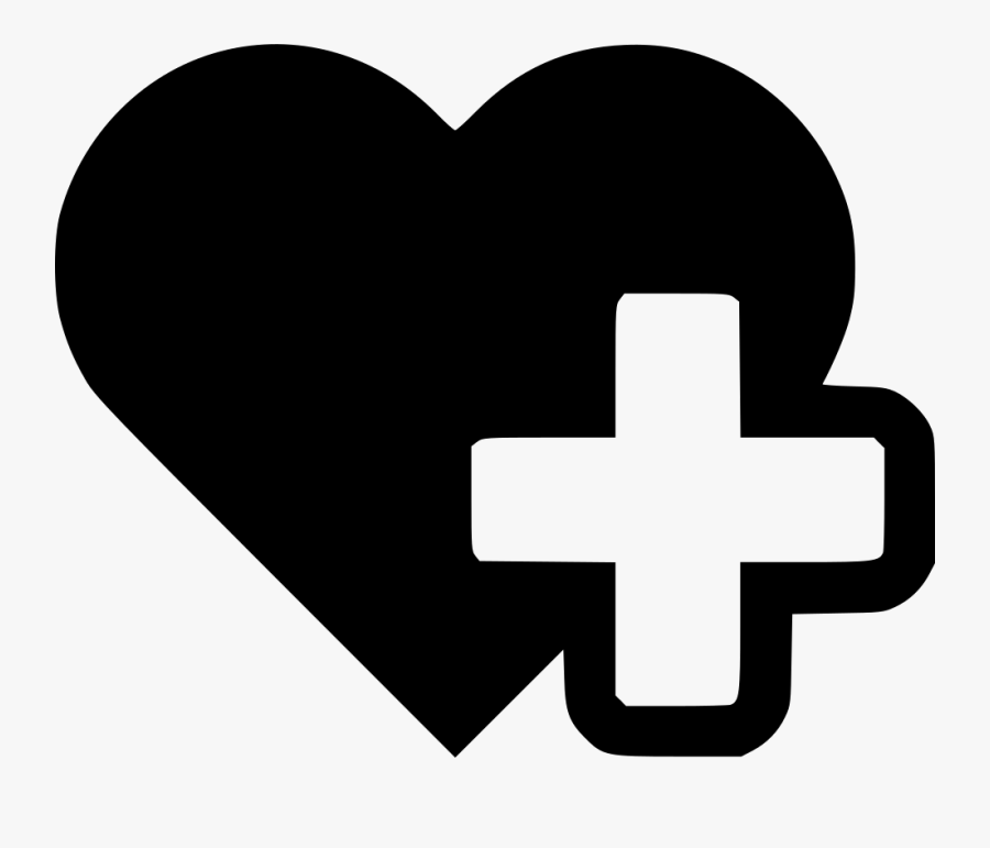 Art,logo,black And White - Heart With Cross Icon, Transparent Clipart
