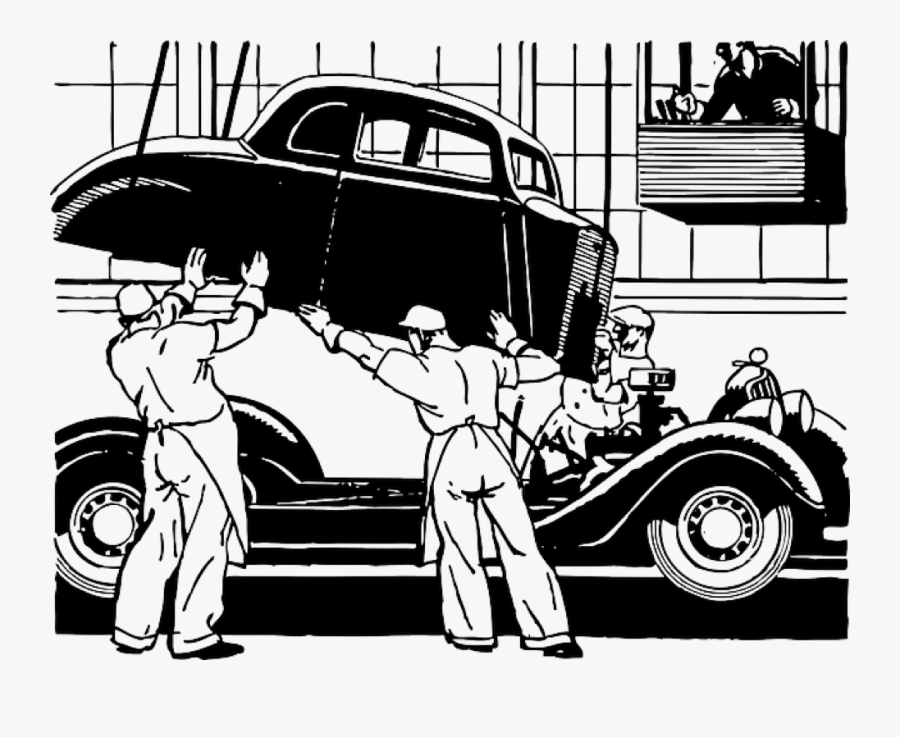 Clipart Car Old Time - Ford Assembly Line Clipart, Transparent Clipart