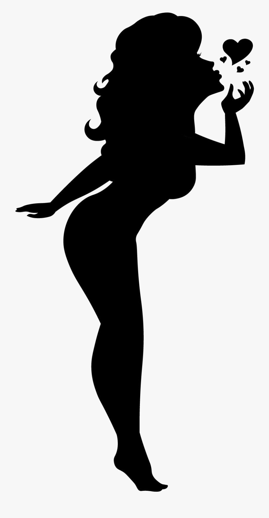 Blowing A Kiss Silhouette Pinup Girl Black Cutout Pin - Girl Blowing A Kiss Silhouette, Transparent Clipart