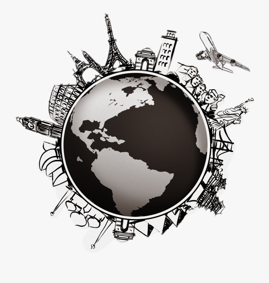 Image Library World Globe Map Compass - Airplane Travel Around The World, Transparent Clipart