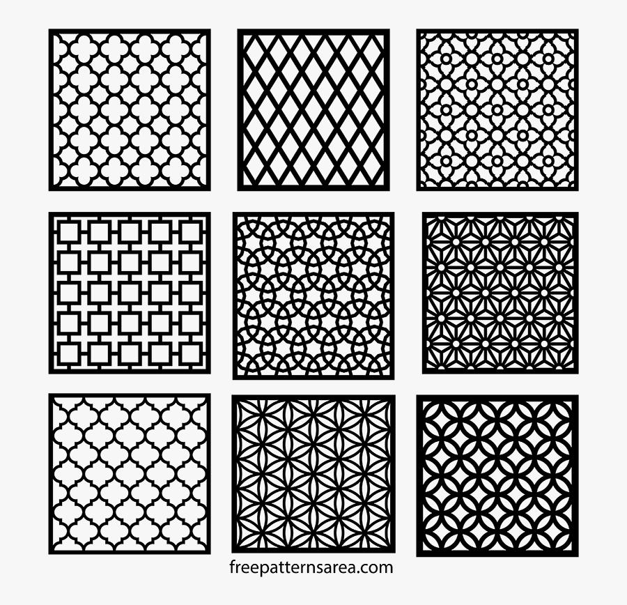 Clip Art Geometric Motifs Repeating Vectors - Laser Cut Patterns Dwg, Transparent Clipart