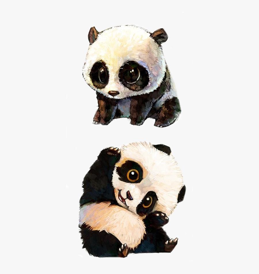 Clip Art Picture Of A Panda Bear - Cute Baby Panda Painting, Transparent Clipart