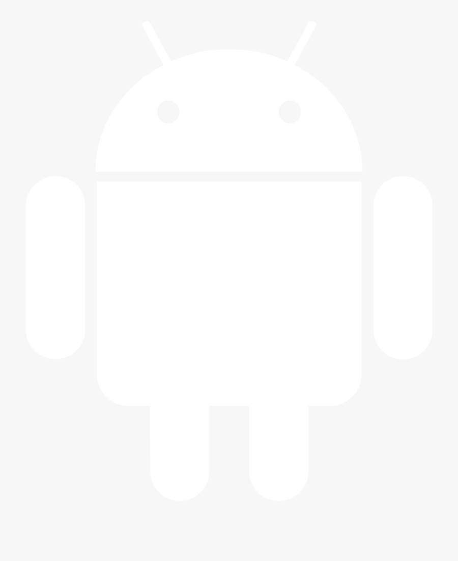 Android Logo White Vector, Transparent Clipart