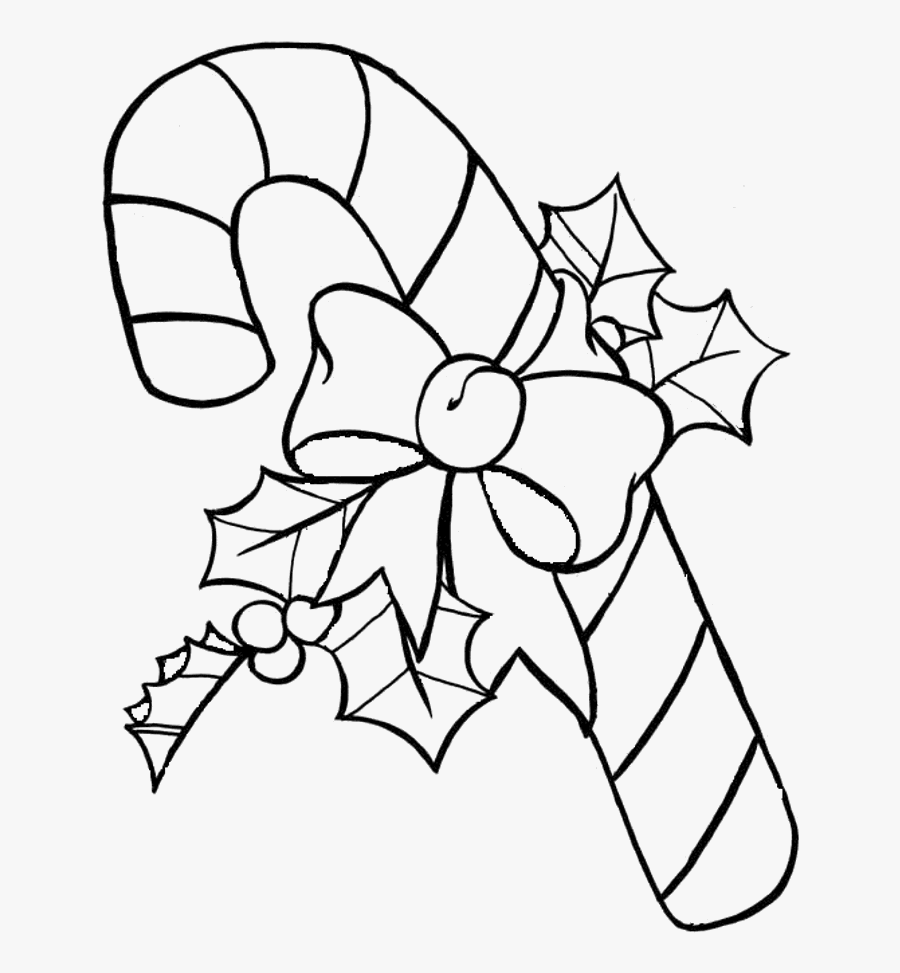 Candy Cane Christmas Coloring Pages - Christmas Candy Cane Coloring, Transparent Clipart
