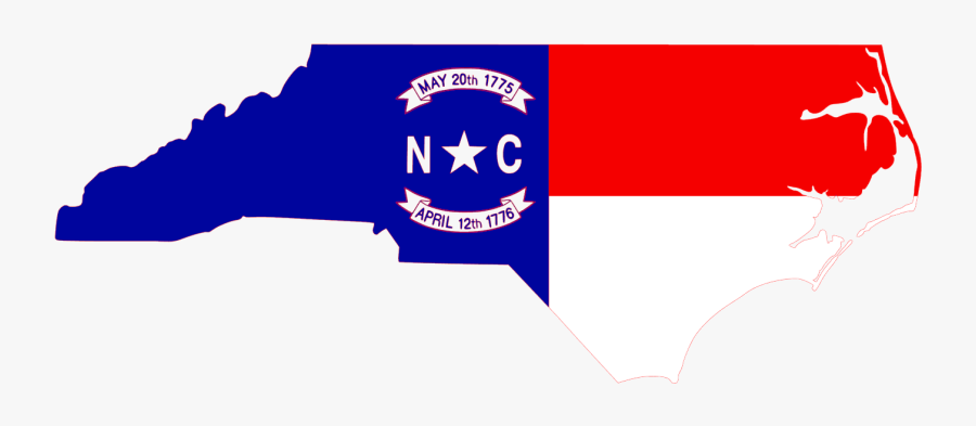 Clip Art Shaped Southern Charm Chic - North Carolina State With Flag, Transparent Clipart