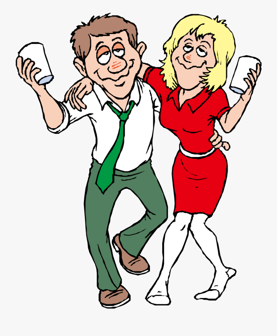 Alcohol Intoxication Free Content - Drunk Man And Woman Cartoon, Transparent Clipart