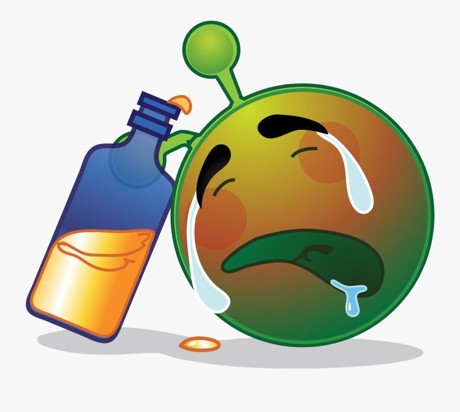 Smiley Green Alien Drunk Sad - Alien Smiley Sad, Transparent Clipart