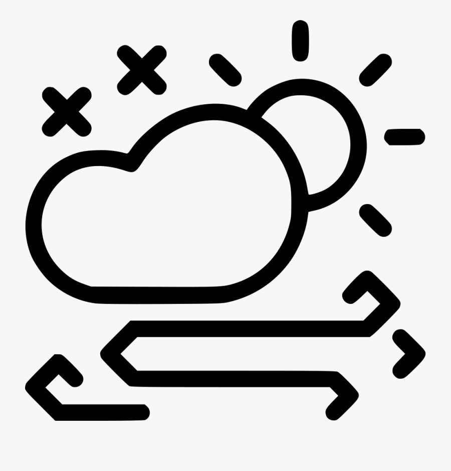Storm Wind Cloud Sun Snow Daytime Frost Svg Png Icon - Daytime Snow Weather Symbol, Transparent Clipart