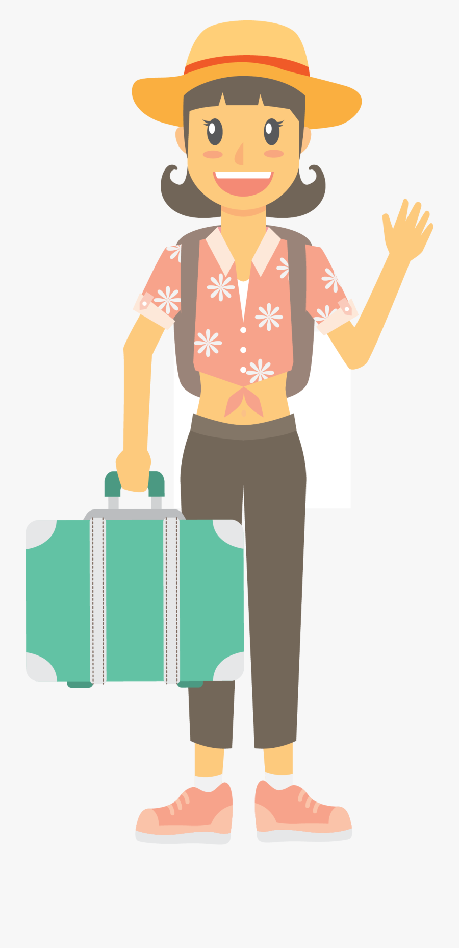 On Summer Seaside Holidays Infographic In Tourism Clipart - Cartoon Tourist Transparent Background, Transparent Clipart