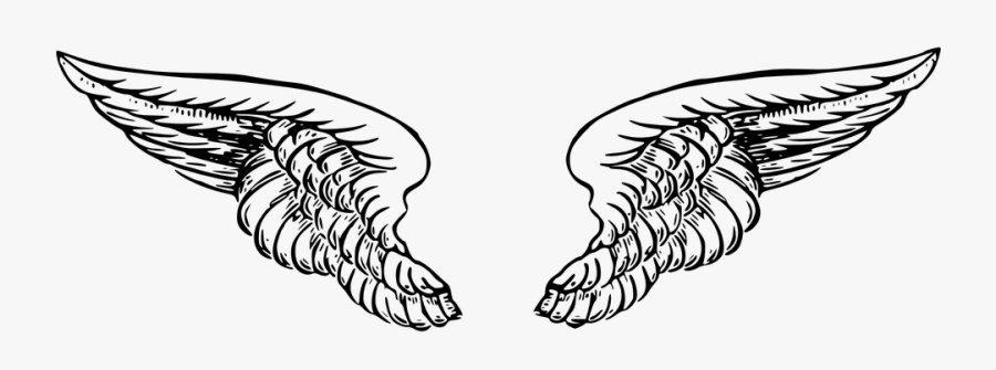 Wings, Angel, Black, White, Tattoo, Heaven, Feather - Angel Wings Tattoo Png, Transparent Clipart