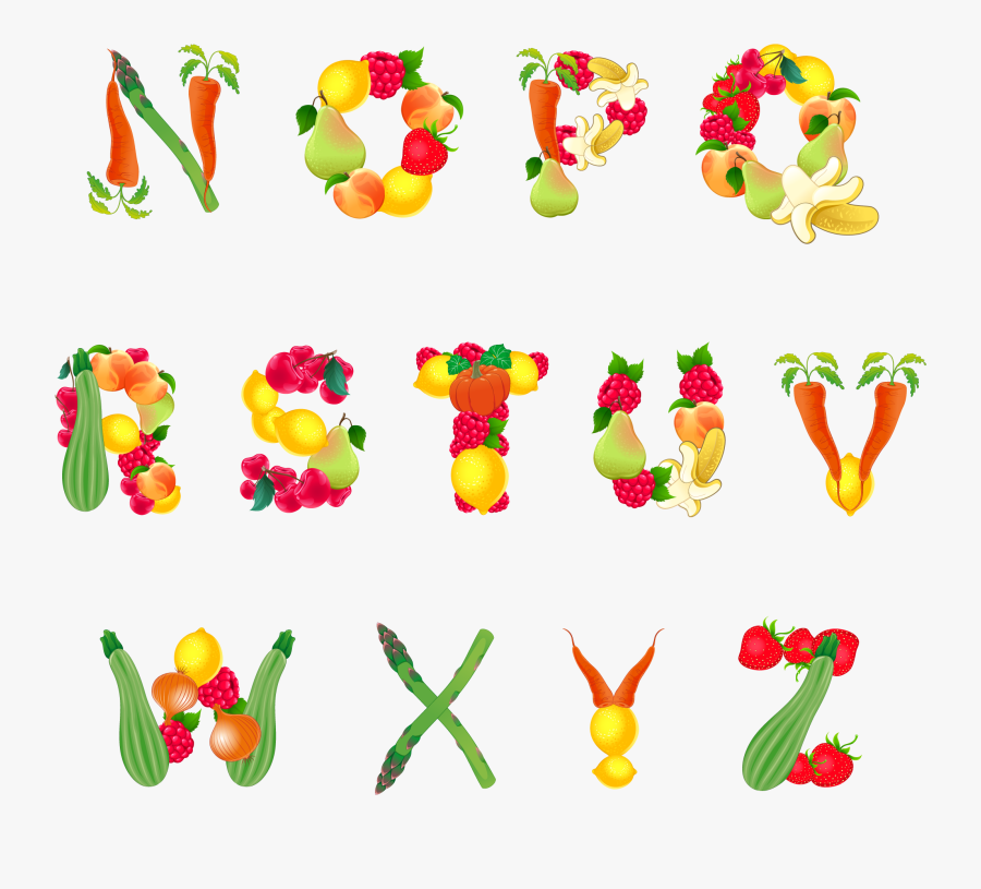 Transparent Fruit And Veggies Clipart - Alphabets With Fruits And Vegetables, Transparent Clipart