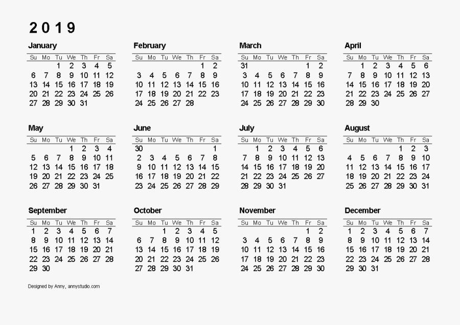 2019 Calendar Free Download Png - 12 Month Free Printable 2019 Calendar Printable, Transparent Clipart