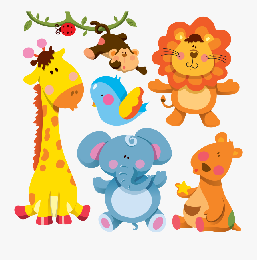 Illustration Giraffe Animals Cartoon Animal Free Download - Cute Cartoon Wild Animals, Transparent Clipart