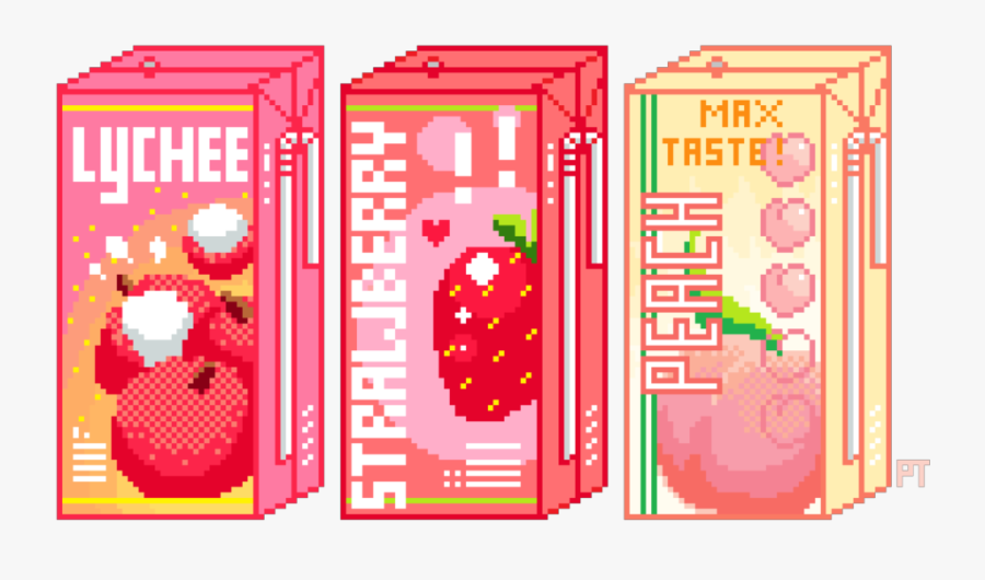 Box Juice Drink Strawberry Peach Lychee Fruit Pixel