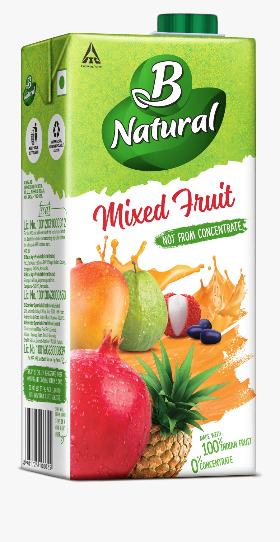 B Natural Fruit Juice, Transparent Clipart