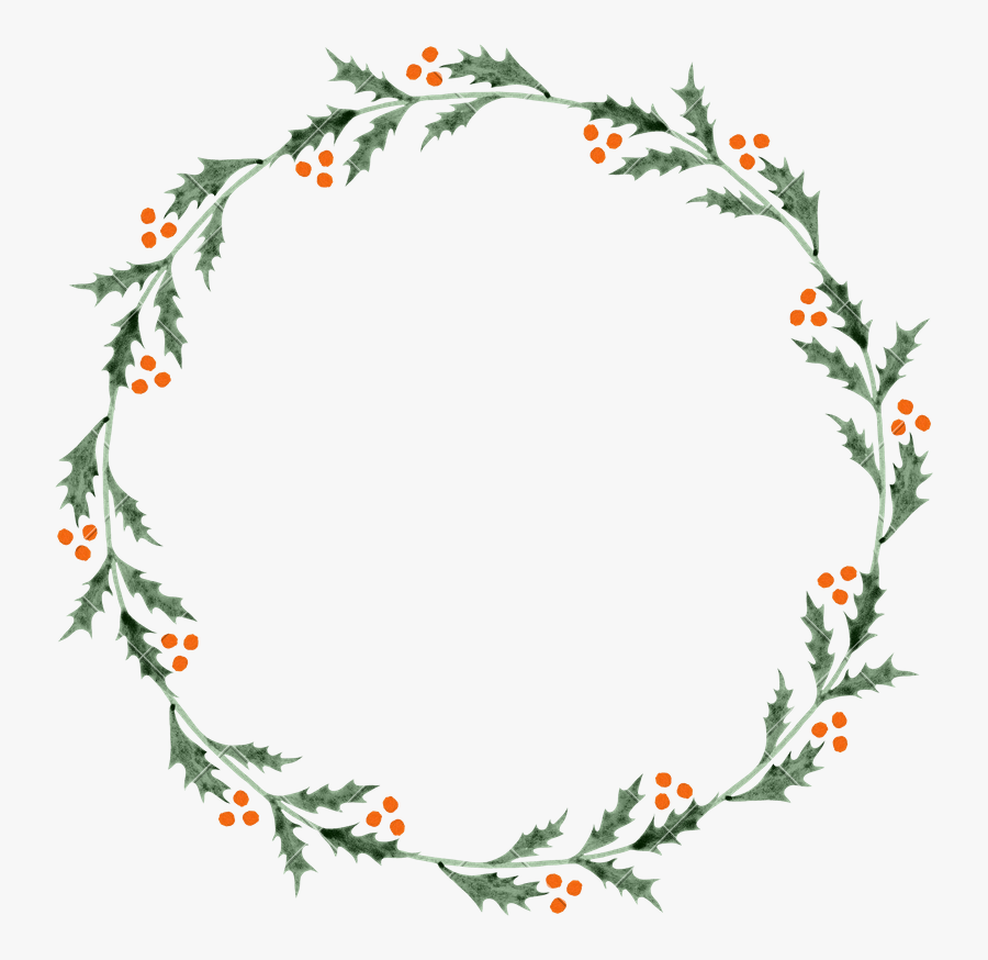 Transparent Holly Wreath Png - Transparent Background Greenery Wreath Border, Transparent Clipart