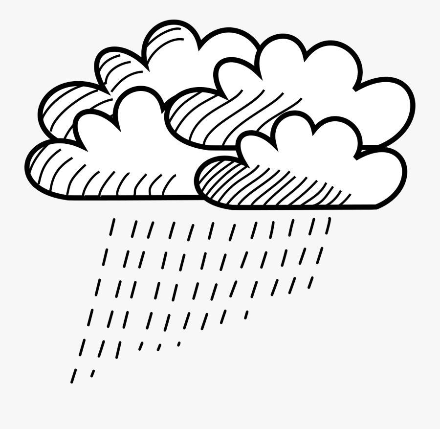 Free Clipart - Rainy Clouds Drawing, Transparent Clipart