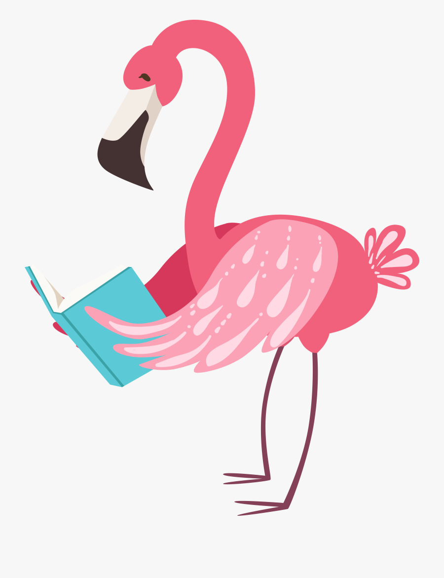 Smiling Flamingo Clipart , Png Download - Flamingo Clipart With Book, Transparent Clipart