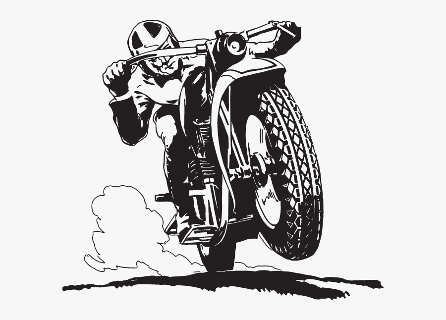 Man On The Motorcycle Drawing, Transparent Clipart