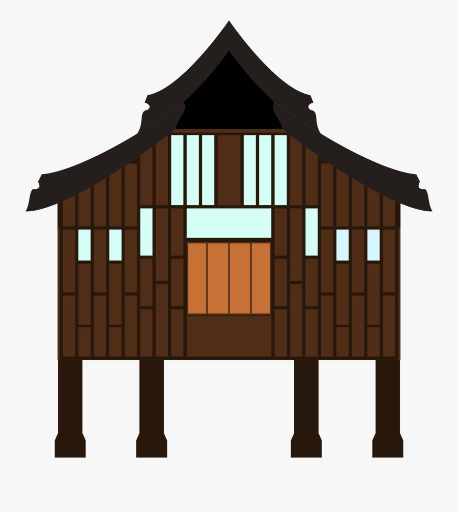 Linelabels Clip Art Rumah Kampung Free Transparent
