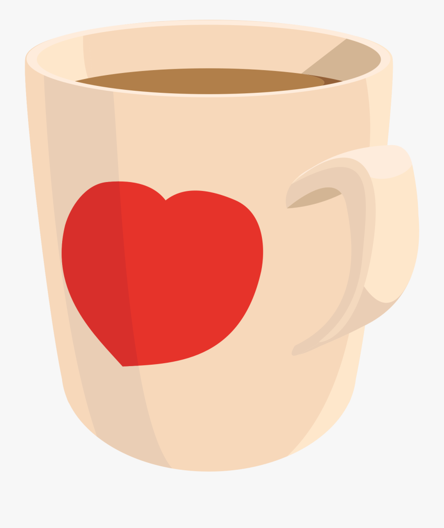 Transparent Cup Clipart - Heart Coffee Mug Clip Art, Transparent Clipart