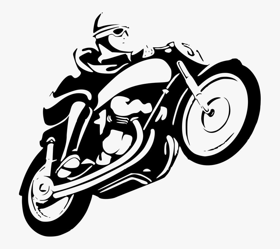 Monochrome Photography,symbol,motor Vehicle - Motorbike Line Art Png, Transparent Clipart