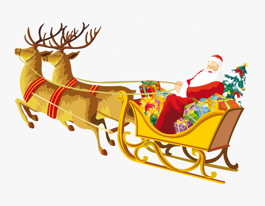 Santa Sleigh Png Images Free Download - Santa Claus Reindeer Png, Transparent Clipart