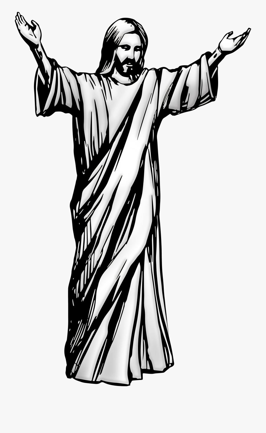 Jesus Christ Png Clip Art - Black And White Jesus, Transparent Clipart