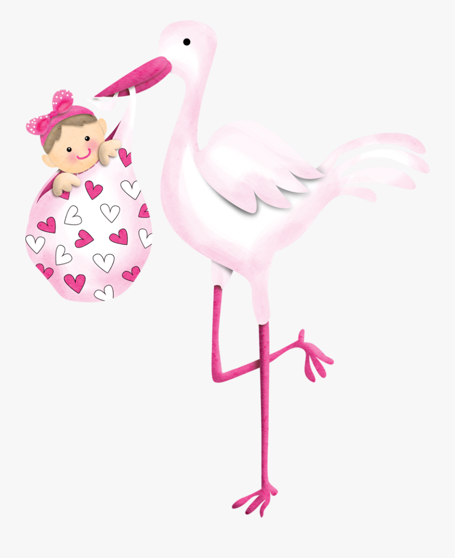Stork Vector Flamingo Clipart Black And White Library - Baby Girl Stork Clip Art, Transparent Clipart