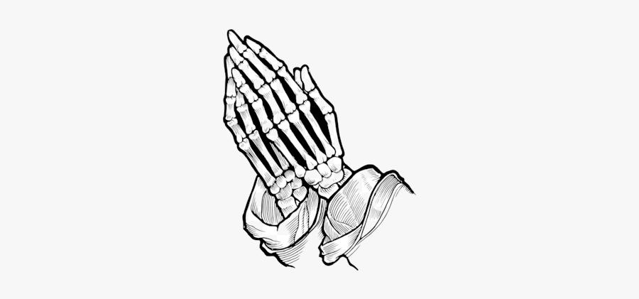 Praying Hands Christian Clip Art Prayer Silhouette - Skeleton Praying Hands Drawing, Transparent Clipart