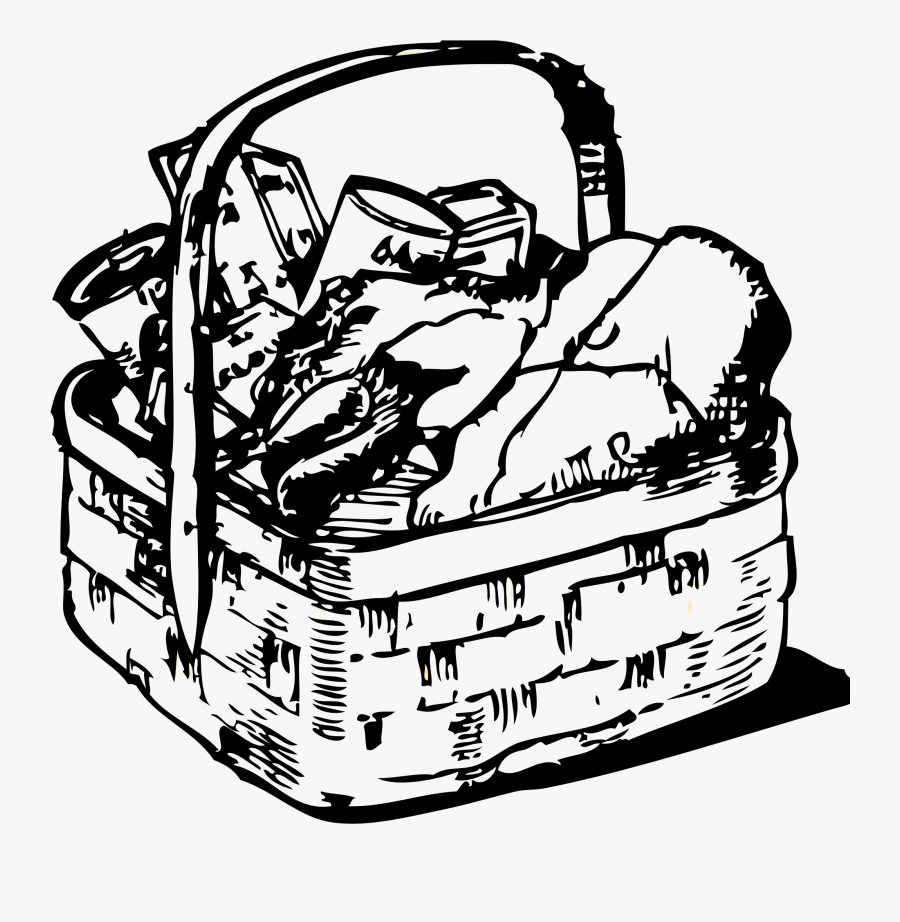 Picnic Basket Clipart Black And White Clipartfox - Basket Of Food Clip Art, Transparent Clipart