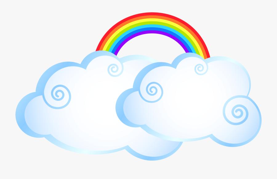 Rainbow Cloud Cartoon - Cartoon Clouds With Rainbow, Transparent Clipart