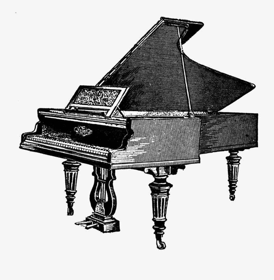 Antique Piano Clipart - Transparent Background Piano Clipart, Transparent Clipart